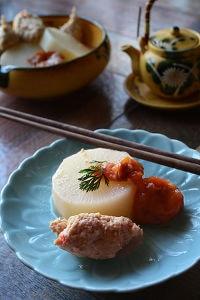 春大根とれんこん鶏団子の梅干しすっぱ煮 簡単と時短。