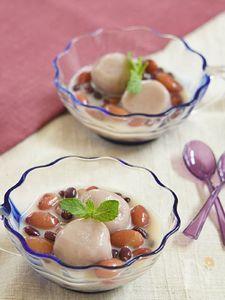 小豆と金時のミルキーピンク白玉