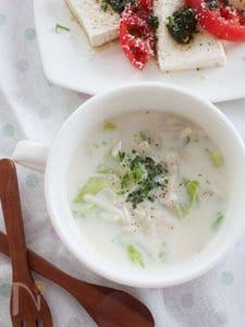 キャベツとえのきのジンジャーミルクスープ