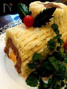 ブッシュドノエル風野菜入りミートローフ