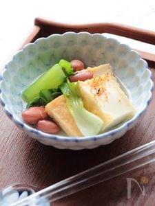金時豆の入った厚揚げと青梗菜の煮びたし