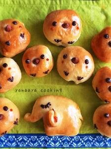 inハムチーズ♡マロンチョコ 手ごねひよこパン、ぞうさんパン