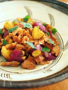 サツマイモの焼肉のタレ炒め