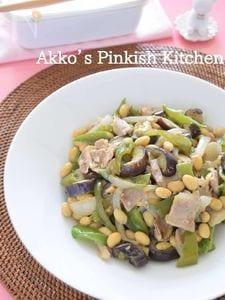 コックリ甘め♡豚バラなすピー甘みそ炒め 作り置きレシピ