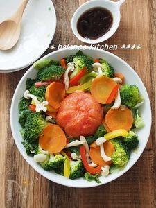 まるごとレタス&トマトの蒸し野菜サラダ