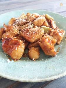 鶏むね肉とネギの照り焼き&パルミジャーノ・レッジャーノ