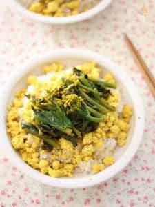 卵みたいな豆腐そぼろと菜の花の春色丼