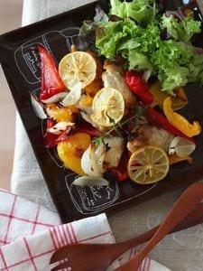 レモンチキンとパプリカのオーブン焼き。