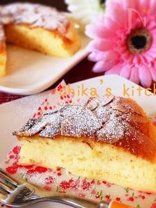 ビックリ‼︎ホワイトチョコスフレとプリンの勝手に二層ケーキ♡