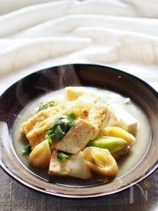 豆腐とネギの醤油煮