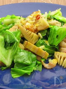 筍と春キャベツのペペロンチーノ