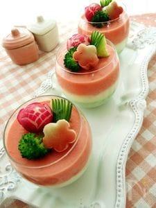 菱餅カラーの野菜とマスカルポーネムース