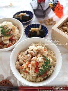 節分豆リメイク*炒り豆炊き込みご飯