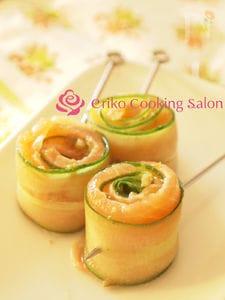 きゅうりとサーモンのピンチョス~柚子胡椒ドレッシング