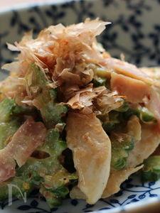ゴーヤと鶏ささみのゆずマヨチリ味炒め