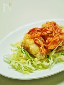 鶏胸肉の唐揚げ★キムチのせ