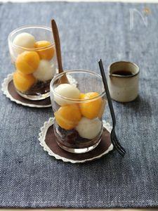 かぼちゃとミルクの2色白玉。