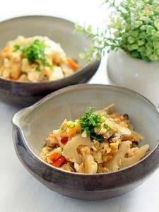 根菜たっぷりのツナ炒り豆腐