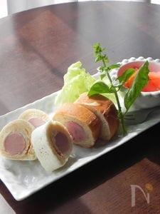 ソーセージ入りバウムクーヘン風パンケーキ