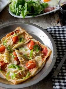 低糖質な油揚げピザ(トマトソース)