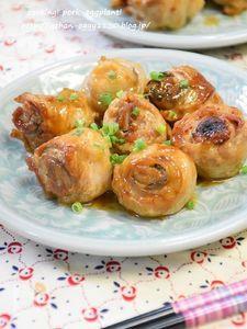 茄子の豚肉ロール オイマヨ炒め