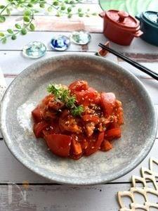 ちょこっとイタリアンな香りの即席トマトキムチ