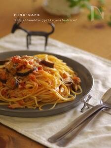 お家で簡単!カニと茄子のトマトクリームパスタ☆