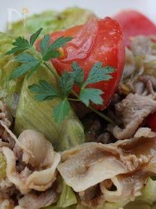 豚肉とトマト、レタスの炒め物、オイスターソース味