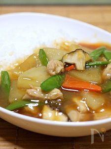 鶏肉と大根のスープあんかけご飯