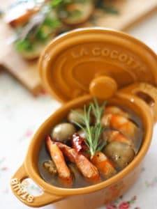 エビとマッシュルームのオイル煮