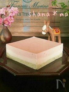 雛祭り♪ミキサーで簡単♪菱餅レアチーズ♪