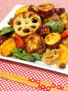 彩り野菜と鶏肉の黒酢あんかけ