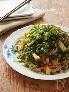 【常備菜】豚肉と切り昆布のじゃこネギ炒め