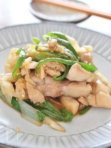 鶏肉と長ネギ、ピーマンのオイスター炒め