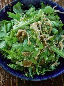 炒めえのきと生春菊のザーサイサラダ
