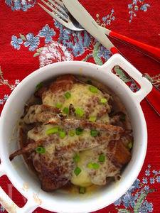 チキンと牛蒡の赤ワイン照り焼き 燻製チーズの香り