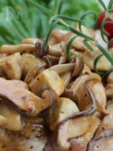 鶏もも肉のソテー、中濃ソース&生クリームソース