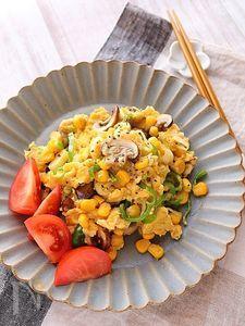 マッシュルームと野菜のふわたま炒め