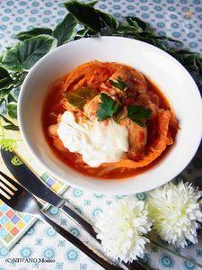 鶏胸肉と焼きキャベツのトマト煮込み