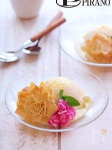 お花のカリカリ春巻きとアイスクリーム♪