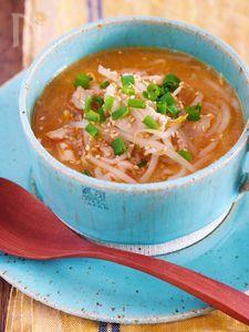 煮るだけ5分♪『豚肉ともやしのコクうま♡韓国風とろみスープ』