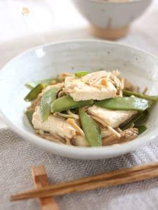 豆腐・きぬさや・えのきだけのしょうゆ煮