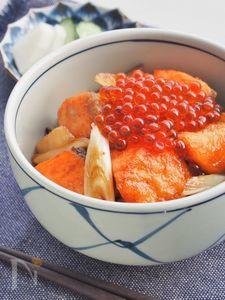秋鮭の甘辛ガーリックバター丼