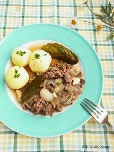 薄切り肉で作る * ドイツ風 牛肉の黒胡椒ビール煮