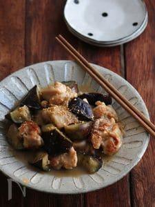 鶏と茄子の胡麻生姜煮。