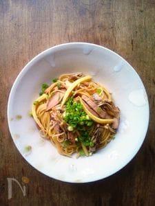 煮豚ときのこの和風スパゲティ