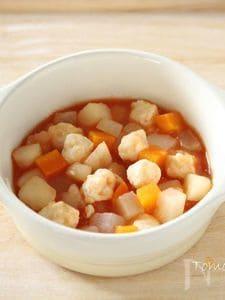 【離乳食中期・後期】お豆腐肉だんごと野菜のトマト煮