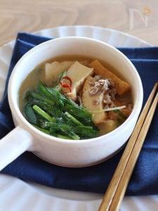身体も心も温まる♪厚揚げのごま坦々スープ