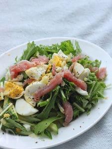 塩レモンと生ハムのお手軽サラダ