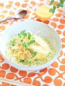 大根スライスとホタテのサラダ中華麺☆にんじんマヨドレッシング